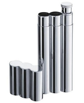 3-Finger Stainless Steel Cigar Tubes with Flask