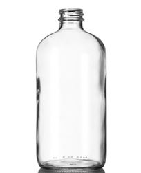 16oz Glass Clear Boston Round Bottles 60 Bulk Case