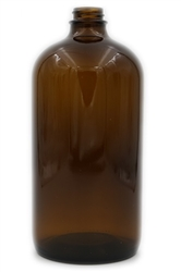 32oz. Glass Amber Boston Round Bottles 12 pack