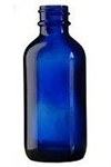 4oz. Glass Cobalt Blue Boston Round Bottles -128cs
