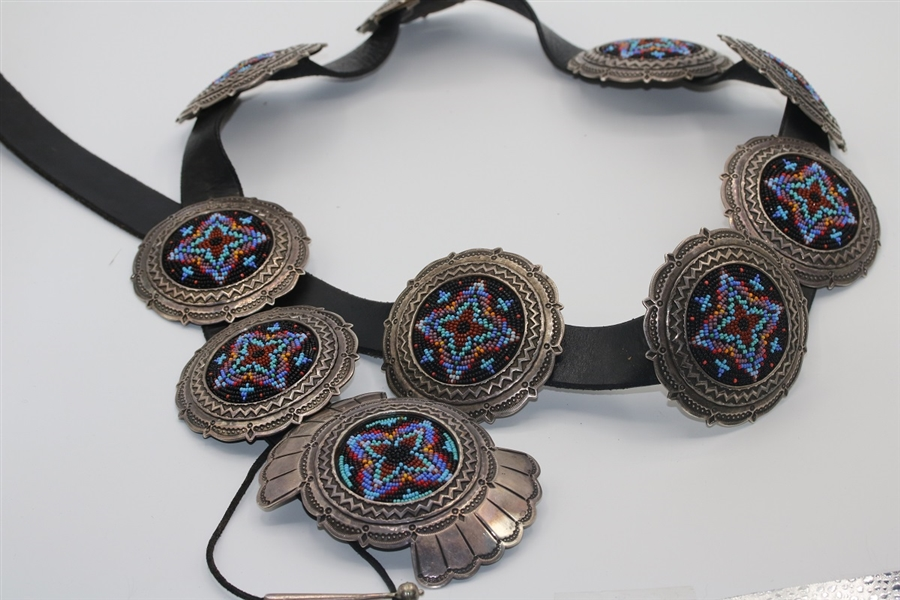 1960's Old Pawn Navajo Concho Belt, Sterling Silver, Turquoise, Navajo Jewelry