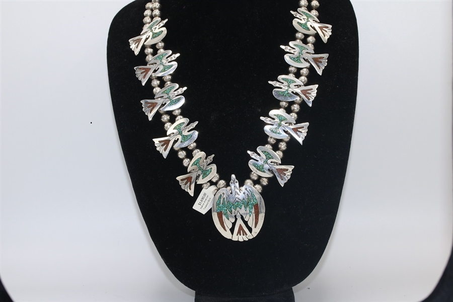 #Navajo squash Blossom, #Old pawn jewelry, #Turquoise Jewelry, #Southwest Jewelry, #New Mexico Jewelry, #Sterling Silver Jewelry, #Chip Inlay Turquoise