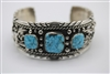 Jerry T. Nelson Navajo Cuff Bracelet, Sterling silver, #8 Turquoise. Navajo Jewelry