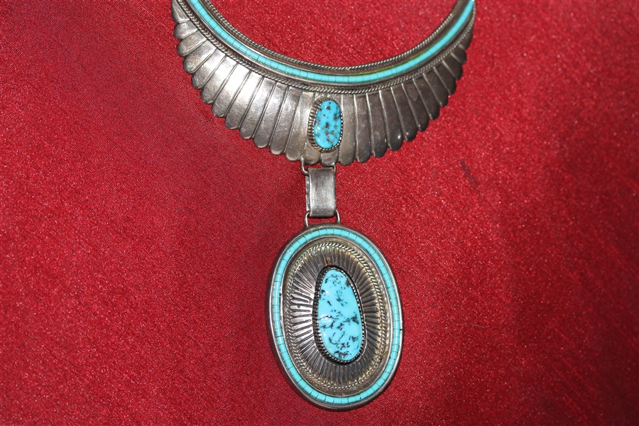 Vintage Navajo Necklace Signed WH