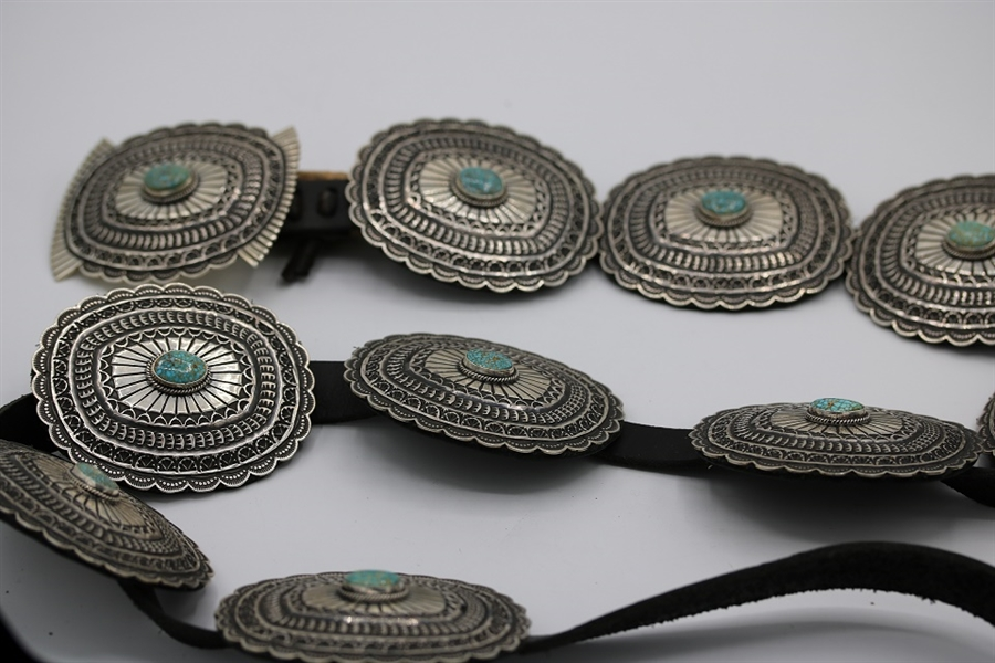 SUNSHINE REEVES NAVAJO CONCHO BELT WITH #8 TURQUOISE, SOLID STERLING.