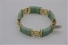 14 KT YELLOW GOLD LINKS AND GREEN JADE