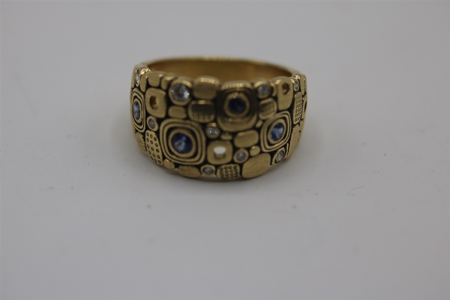 ALEX SEPKUS LITTLE WINDOWS RING DIAMONDS AND SAPHIRE 18 KT GOLD