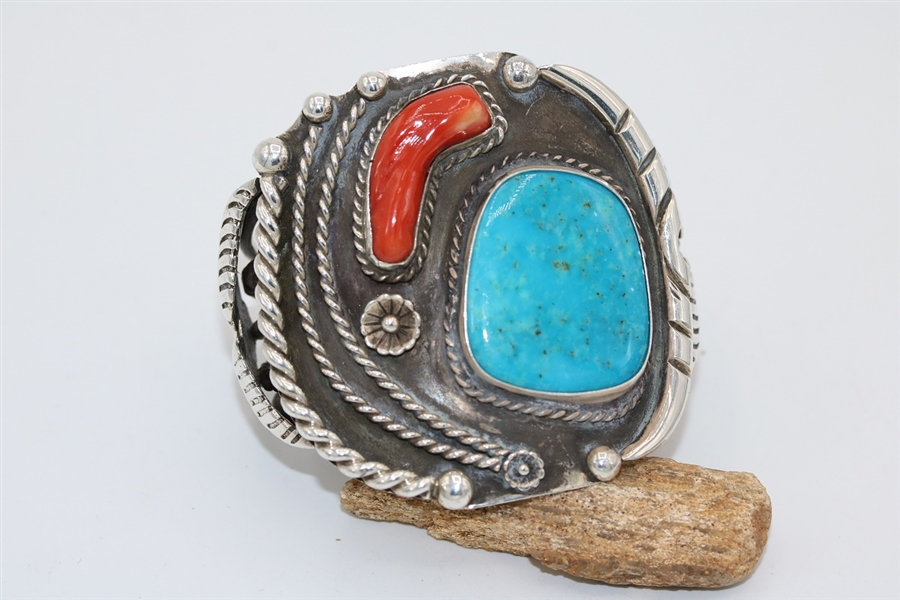 Old pawn Navajo cuff Bracelet with Kingman and Coral, sterling silver