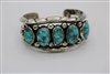 Old pawn Navajo cuff Bracelet with#8 turquoise sterling silver