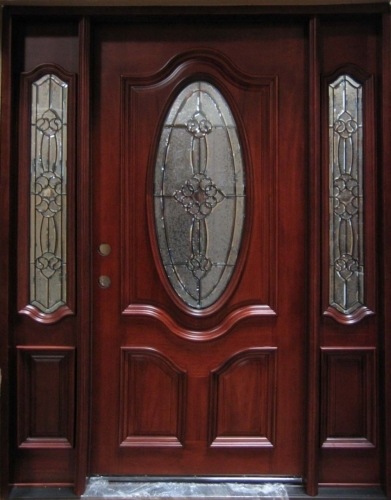 Solid Wood Mahogany Oval Victorian Gl With Sidelights Exterior Pre Hung Door