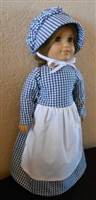 Doll Prairie Dress, Apron & Bonnet Set Navy Blue Gingham