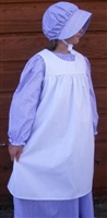 Girl Dress, Bonnet, and Pinafore in Purple Calico & White Muslin size M 7 8