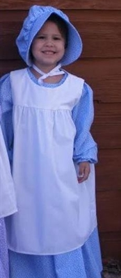 Girl Dress, Bonnet, and Pinafore in Light Blue Calico & White Muslin size S 5 6