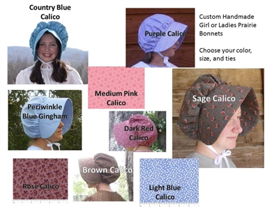 Custom Girl or Ladies Prairie Bonnet all sizes-choose your fabric