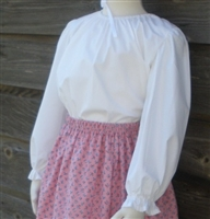 Girl Prairie Peasant Blouse in White Muslin size S 5 6