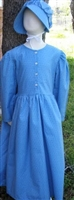 Girl Prairie Dress & Bonnet Set Medium Blue Calico size 5