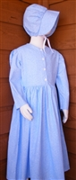 Girl Prairie Dress & Bonnet Set Light Blue Calico size 7