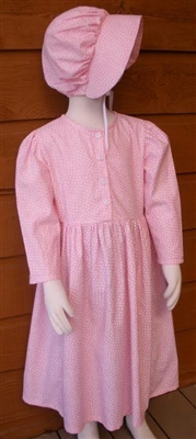 Girl Prairie Dress & Bonnet Set Pink Calico size 5
