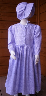 Girl Prairie Dress & Bonnet Set Purple Calico size 7