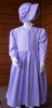 Girl Prairie Dress & Bonnet Set Purple Calico size 10