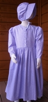 Girl Prairie Dress & Bonnet Set Purple Calico size 14