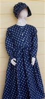 Girl Prairie Dress & Bonnet Set Navy Blue Calico size 10