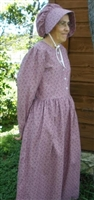 Girl Prairie Dress & Bonnet Set Rose Calico size 14
