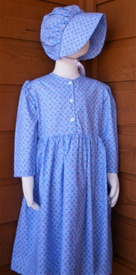 Girl Prairie Dress & Bonnet Set Light Blue Calico size 8