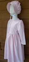 Girl Prairie Dress & Bonnet Pink Gingham size 12