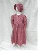 Girl Prairie Dress & Bonnet Set Dark Red Calico size 8