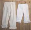 Girl Prairie Pantaloons with Lace Custom Made White or Cream