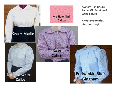 Ladies Anne Blouse Custom Made Choose Color & Size