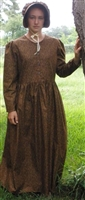 Ladies Prairie Dress & Bonnet Set Dark Brown Calico size 14