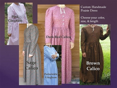 Ladies Prairie Dress Custom Made Choose Color and Size
