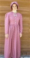 Ladies Prairie Dress & Bonnet Set Dark Red Calico size 10