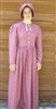 Ladies Prairie Dress & Bonnet Dark Red Calico size 14