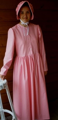 Ladies Prairie Dress & Bonnet Pink Mini Dots size 16
