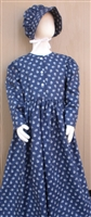 Ladies Prairie Dress & Bonnet Set Navy Calico size 20