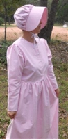 Ladies Prairie Dress & Bonnet Set Pink Gingham size 14