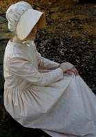 Ladies Prairie Dress & Bonnet Tan Calico size 6
