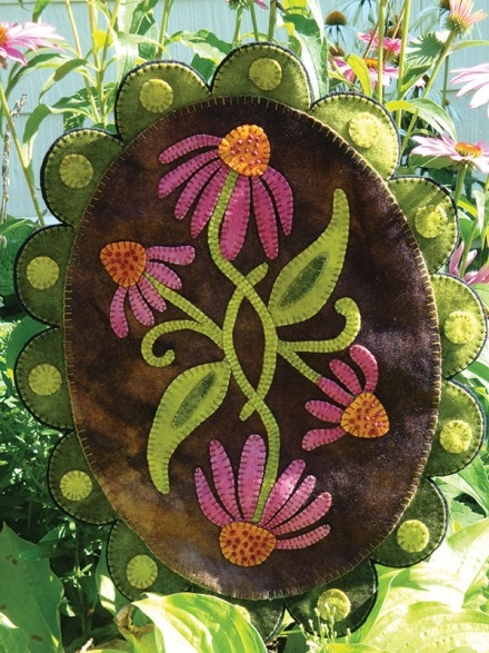 Purple Cone Flowers Style This Wool Applique Design