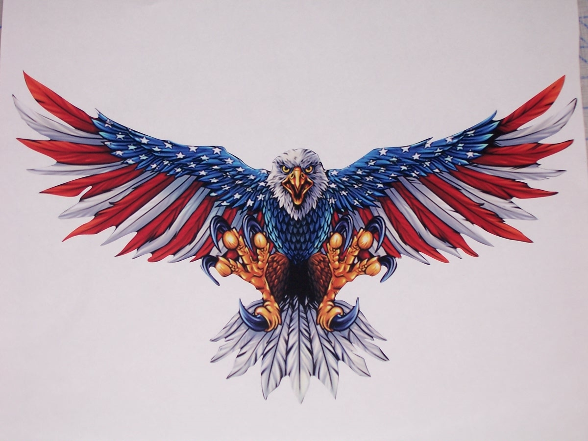 Front Facing Wings Out American Flag Attack Eagle Full Color Graphic