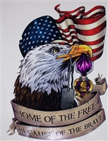 Purple Heart American Flag Eagle Home of free Full color Graphic Window Decal Sticker