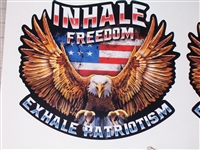 American Flag Eagle Inhale FREEDOM Exhale Patriotism Full color Graphic Window Decal Sticker