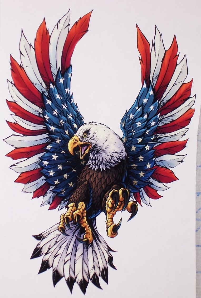 Front Facing American Flag Attack Eagle Full Color Graphic Window