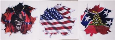 Ripped Metal Flag Decals American Rebel Flag Rebel Skull