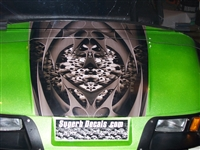 Green EZGO w/ Golf CartBoneyard Tribal Skull HOOD & Side Graphics