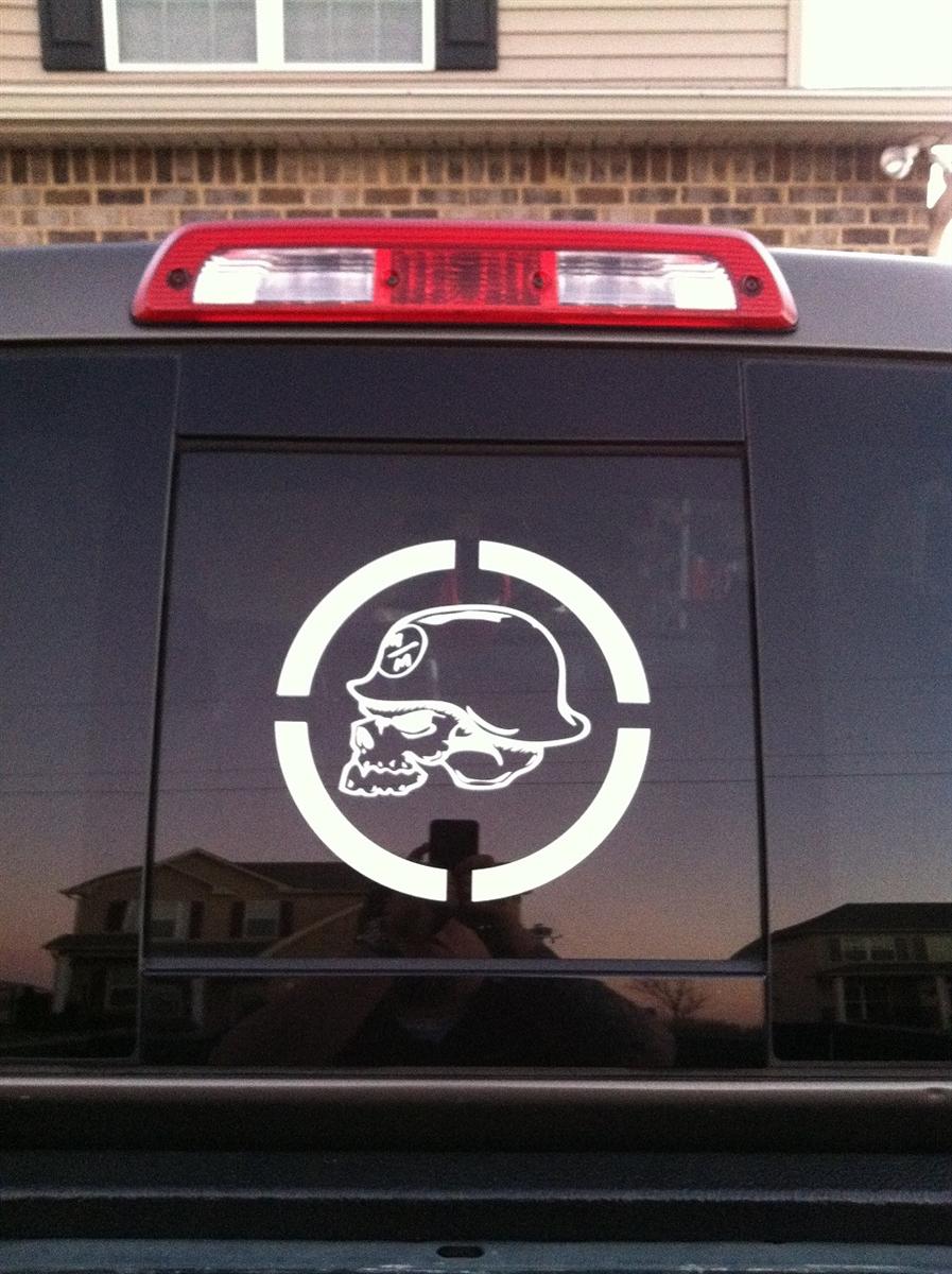 Truck window w metal militia skull circle window 9x9 decal