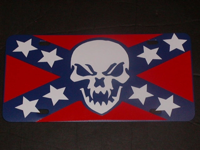 Confederate Rebel Skull Flag License Vanity Plate