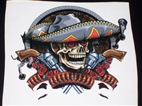 "Tribal sombrero Skull Rebel 24"" x 25"" Full color HOOD Decal"